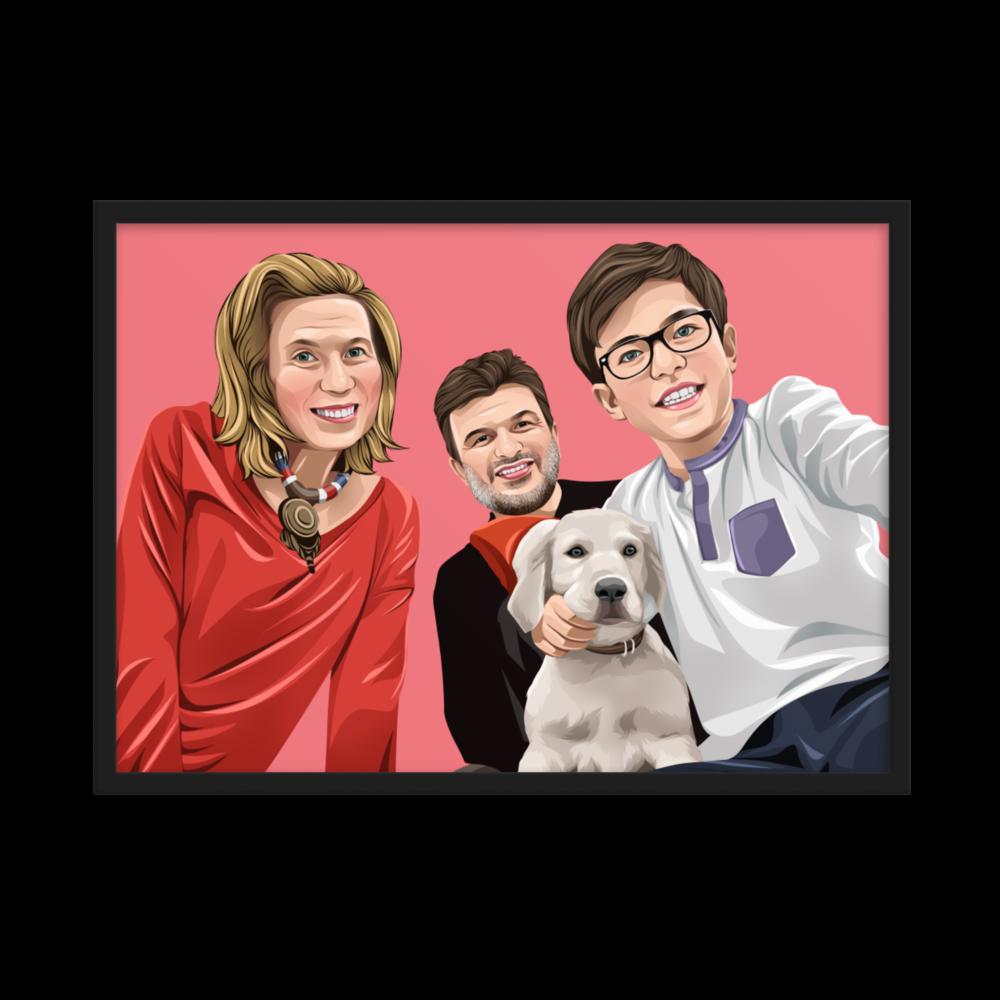 Familien Cartoon Poster mit Rahmen