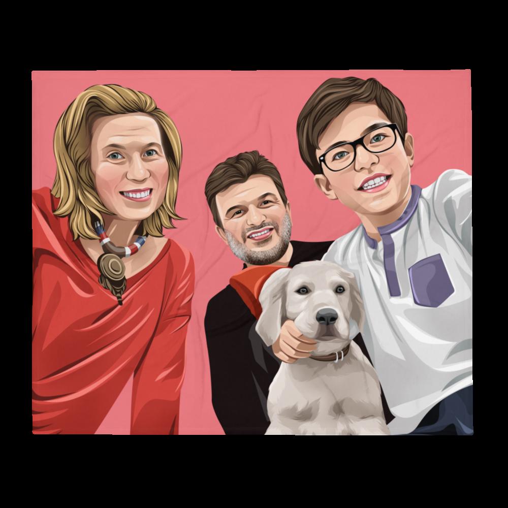 Familien Cartoon Kuscheldecke