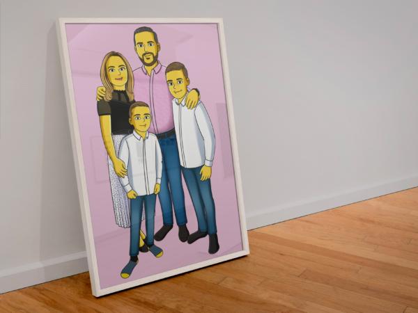 Yellow Cartoon Poster mit Rahmen